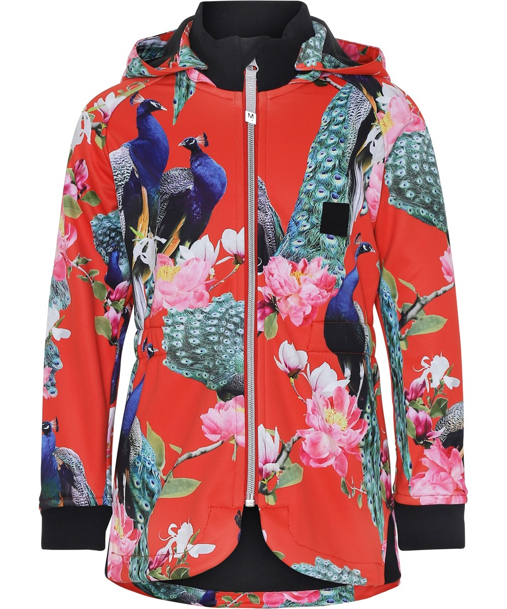 Hillary - Peacock - Red soft shell jacket with peacocks.