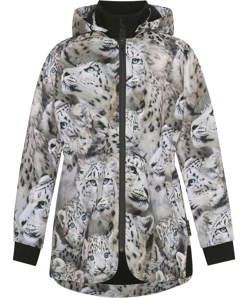 Hillary - Snowy Leopards - Body conscious softshell jacket with snow leopards