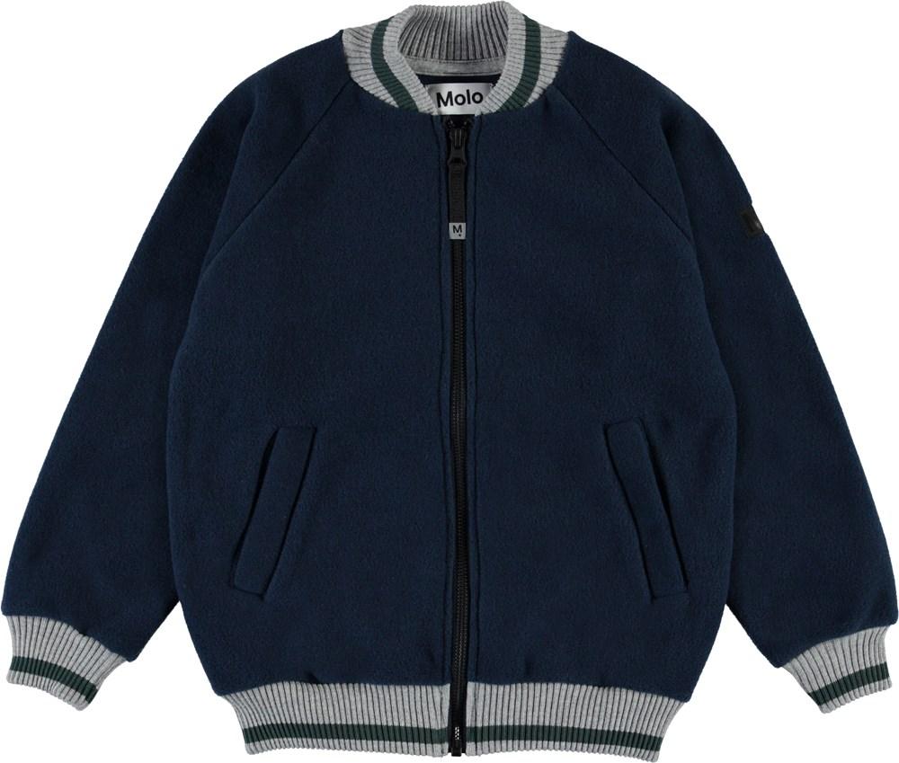 Hooley - Carbon - Grey fleece bomber jacket.