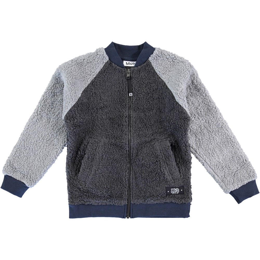 Hooley - Dark Grey Melange - Grey fleece jacket