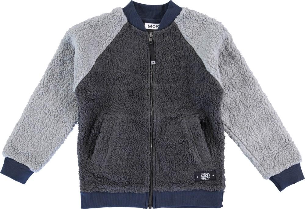 Hooley - Dark Grey Melange - Grey fleece jacket