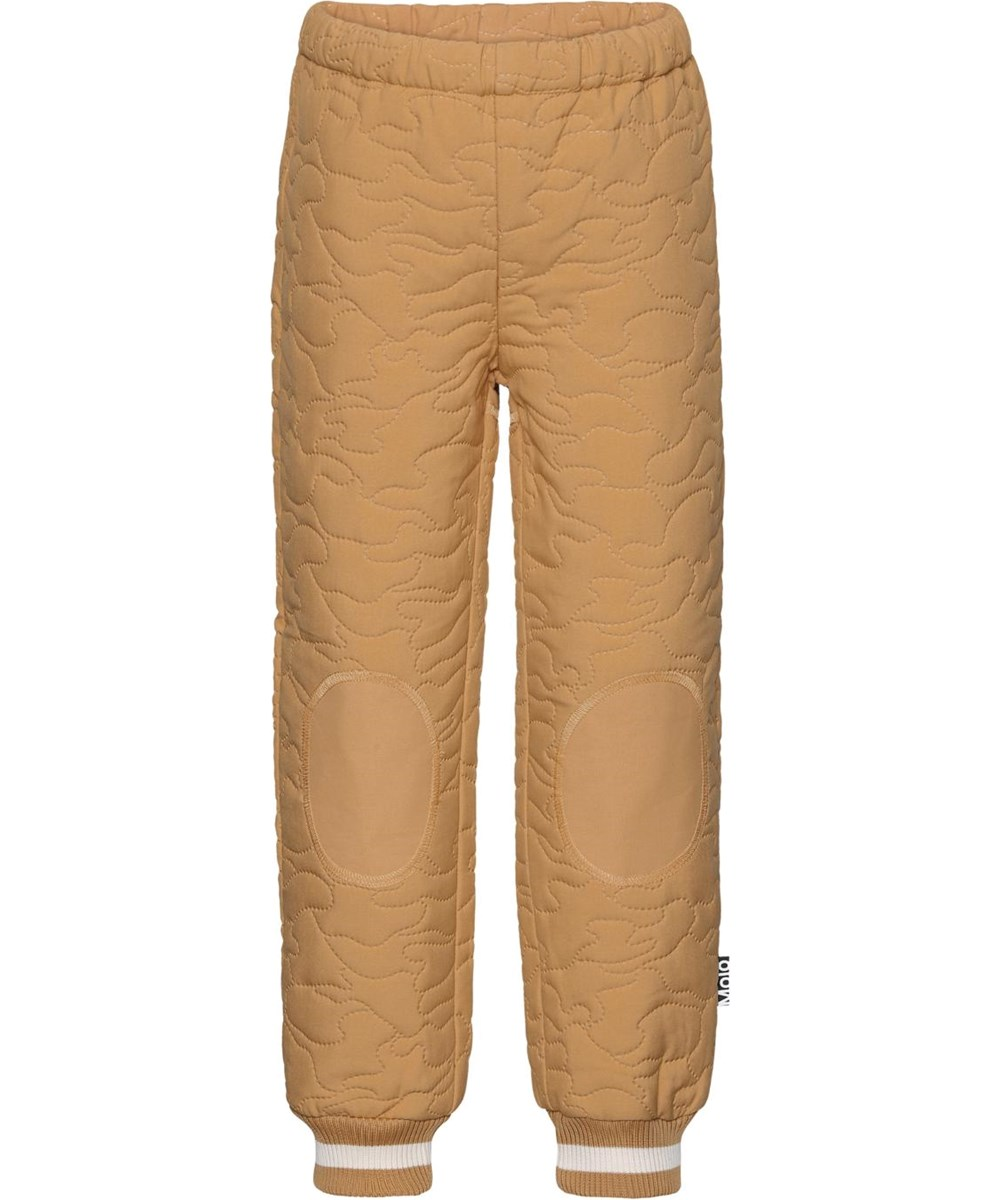 Hoti - Honey - Golden thermal trousers with green stripe