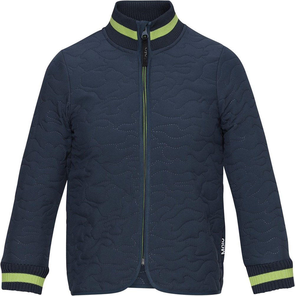 Husky - Summer Night - Dark blue thermal jacket with green stripe