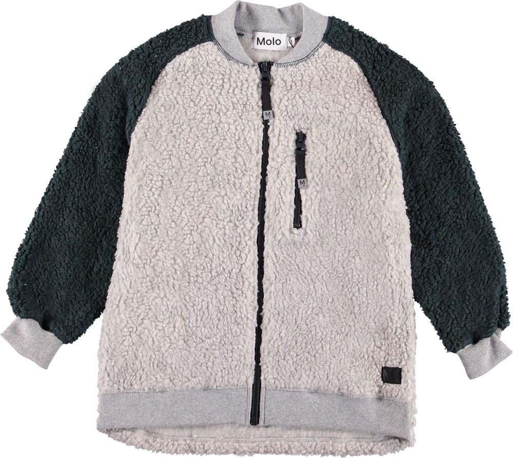 Uberto - Grey Melange - Light grey fleece jacket.