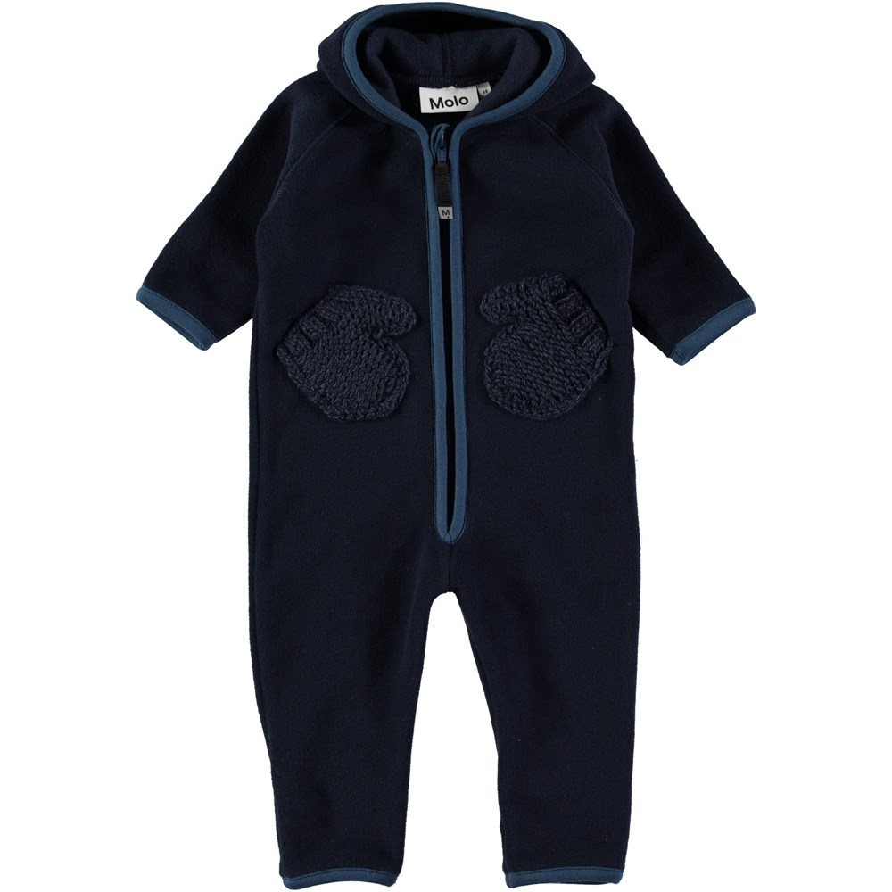 Udo - Blue Wing Teal - Dark blue fleece baby romper with knit pockets