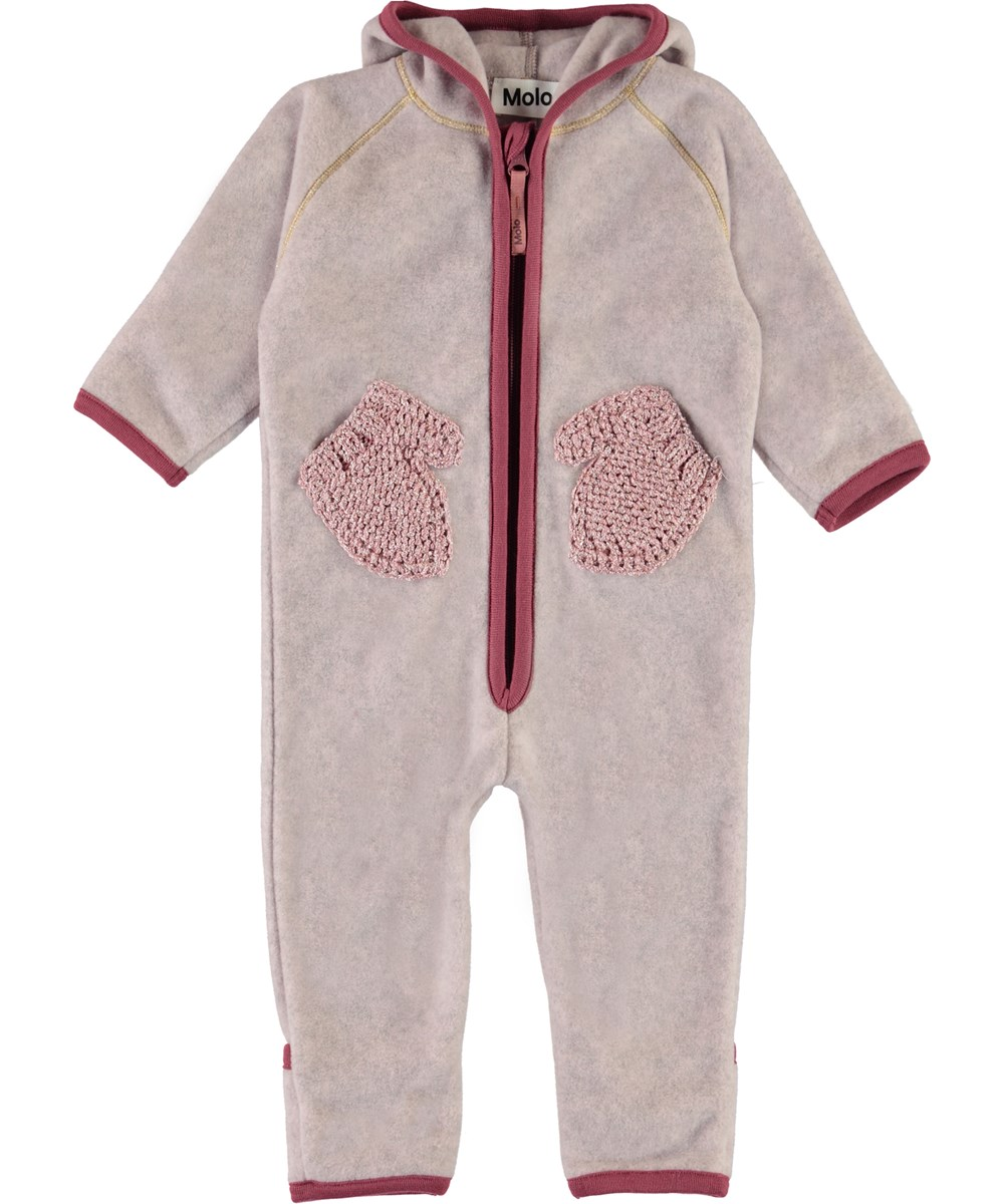 Udo - Fair Pink - Baby fleece romper in rose with mittens