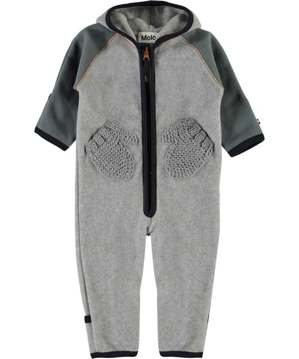 Udo - Grey Melange - Baby fleece romper in grey with mittens