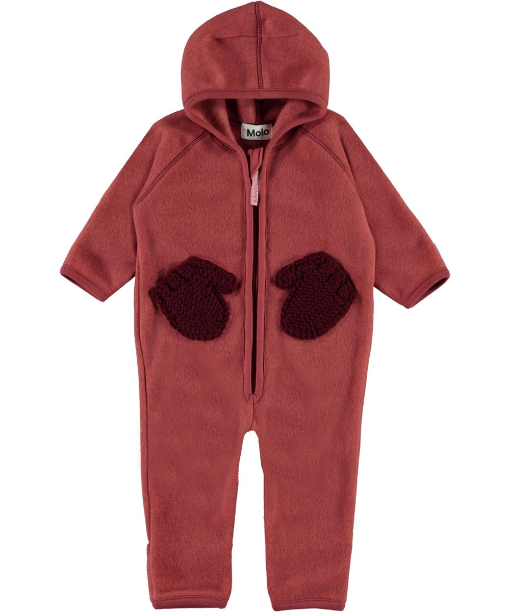 Udo - Maple - Red baby fleece romper with mitten pockets