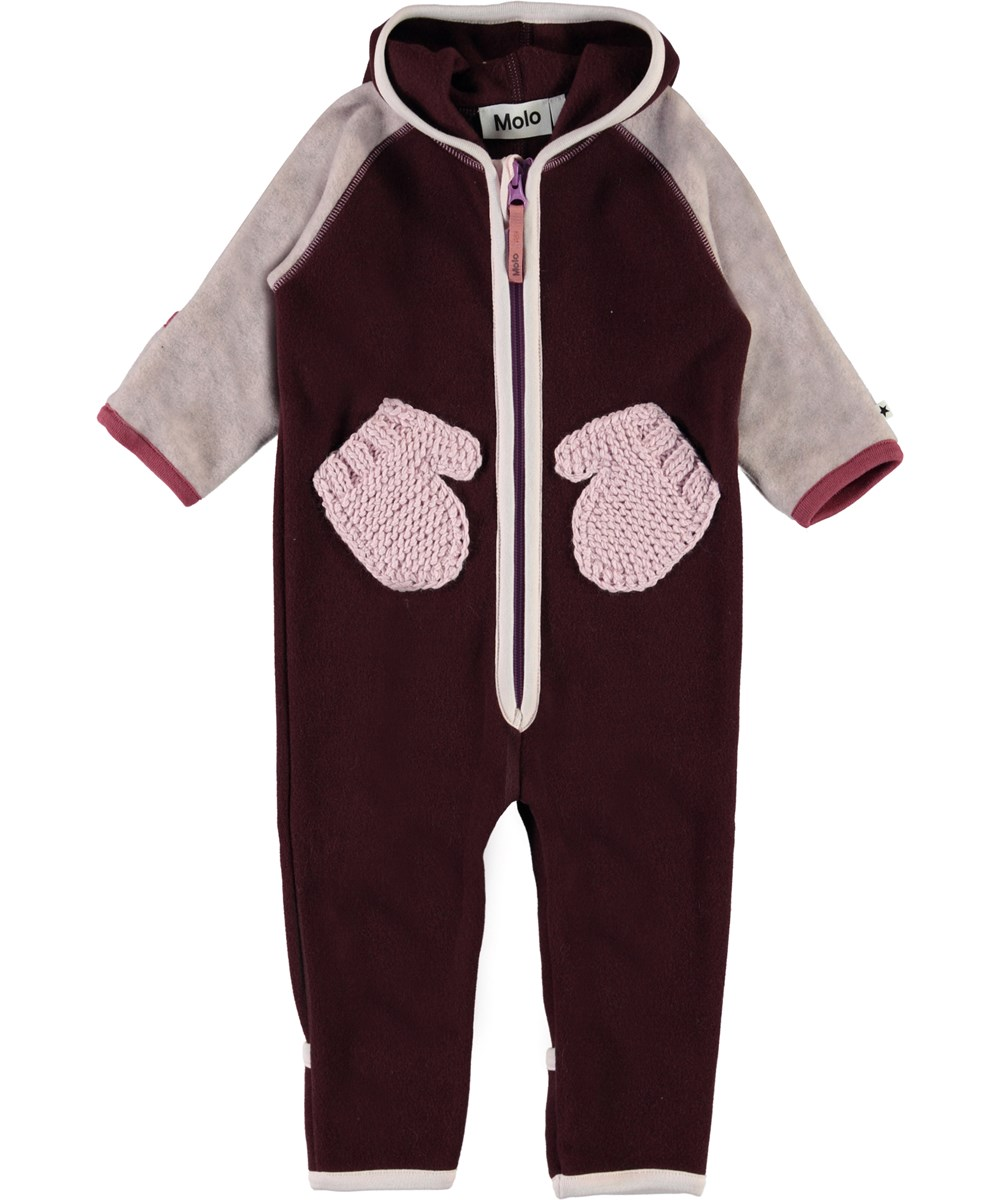 Udo - Maroon - Baby fleece romper in bordeaux with mittens