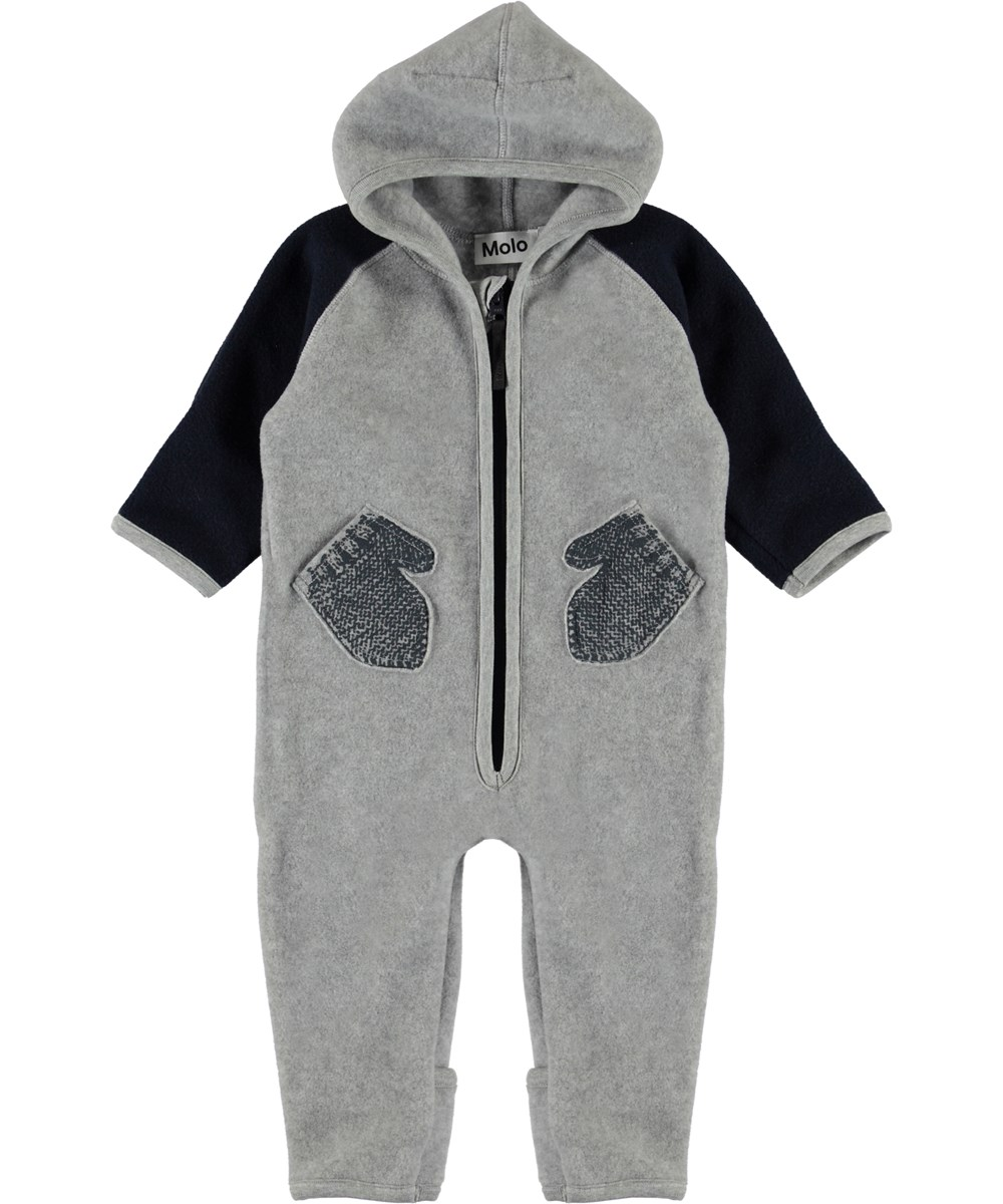 Udo - Moonlit Ocean - Grey and black baby fleece romper with mittens