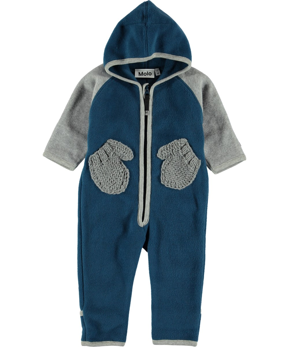 Udo - Ocean Blue Block - Blue baby fleece romper with mittens pockets.