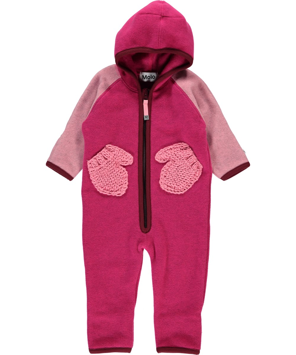 Udo - Pink Disco Block - Pink baby fleece romper with mittens pockets.