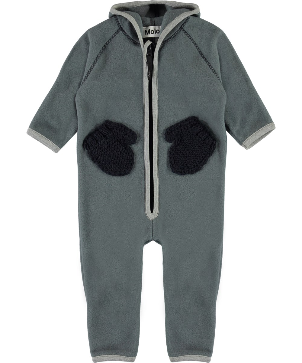 Udo - Stormy Weather - Baby fleece romper in grey with mittens