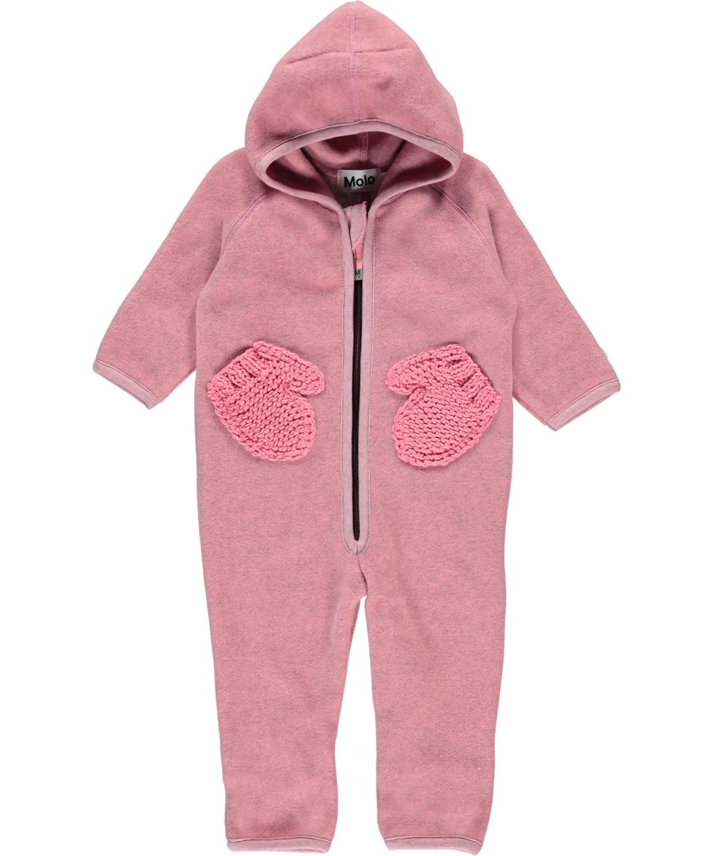Udo - Bubble Pink - Pink baby fleece romper with mittens pockets.