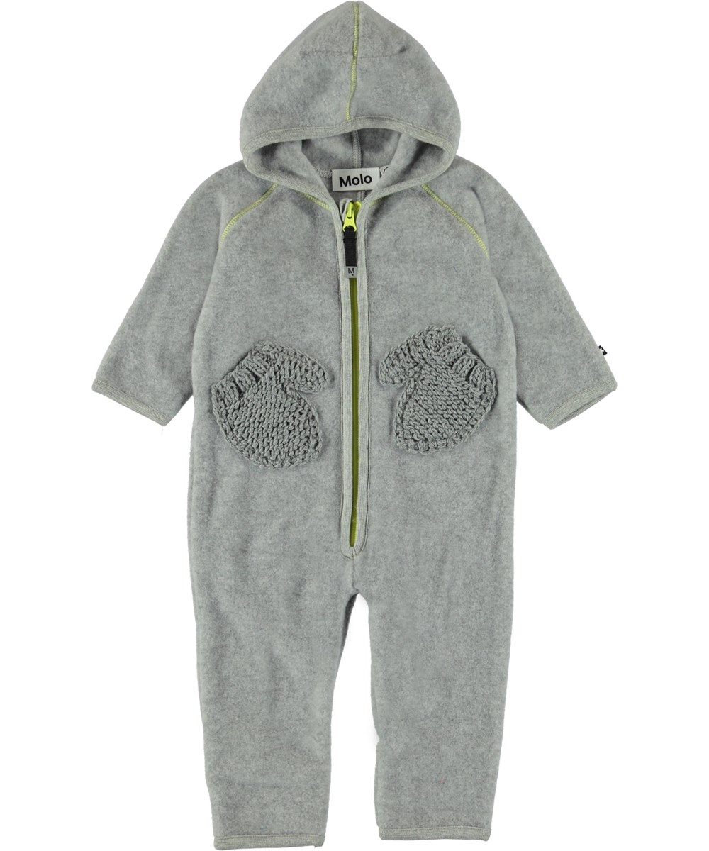Udo - Grey Melange - Grey baby fleece romper with mittens pockets.