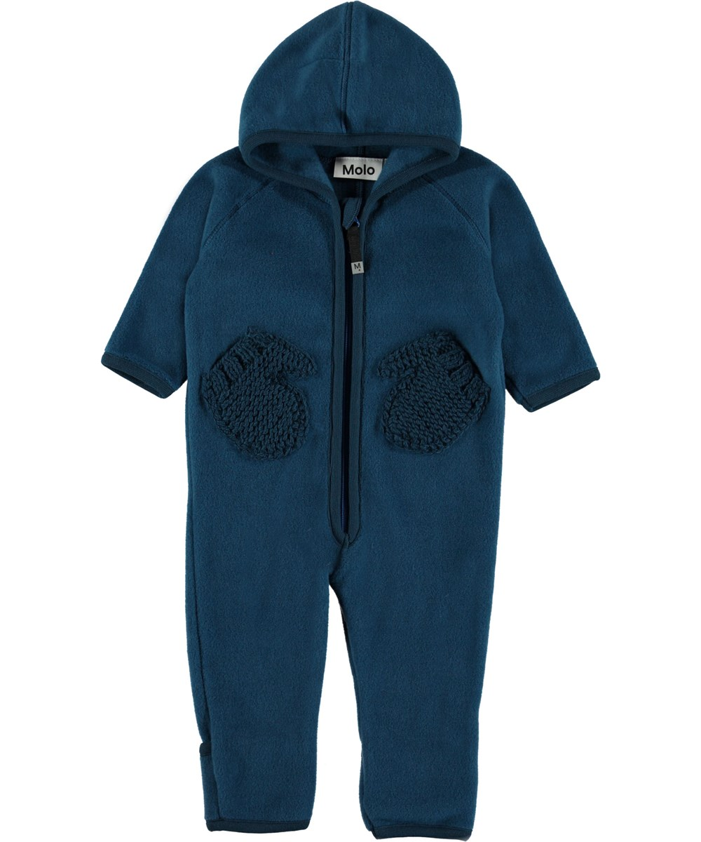 Udo - Ocean Blue - Blue baby fleece romper with mittens pockets.