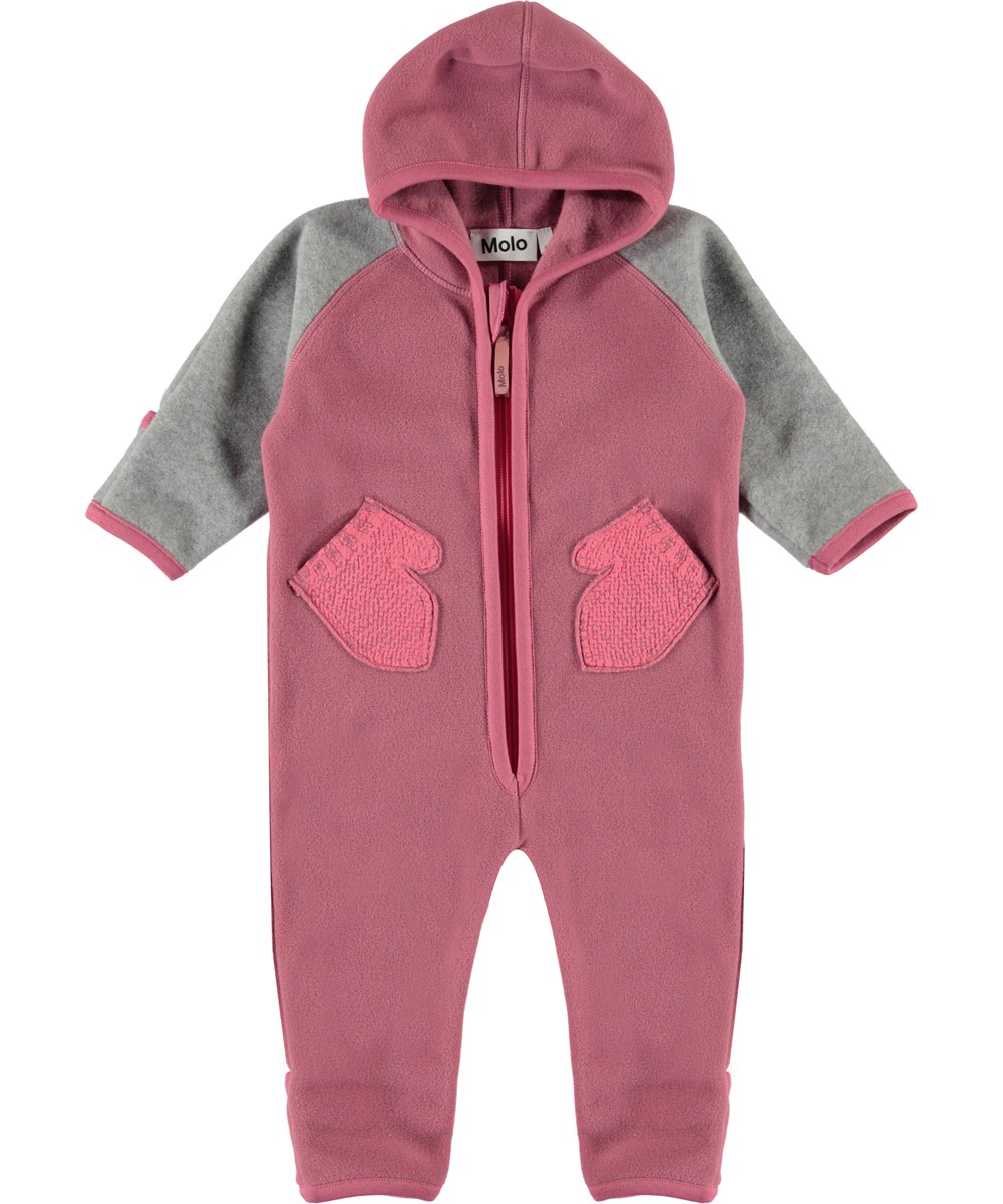 Udo - Withered Rose - Rose and grey baby fleece romper with mittens