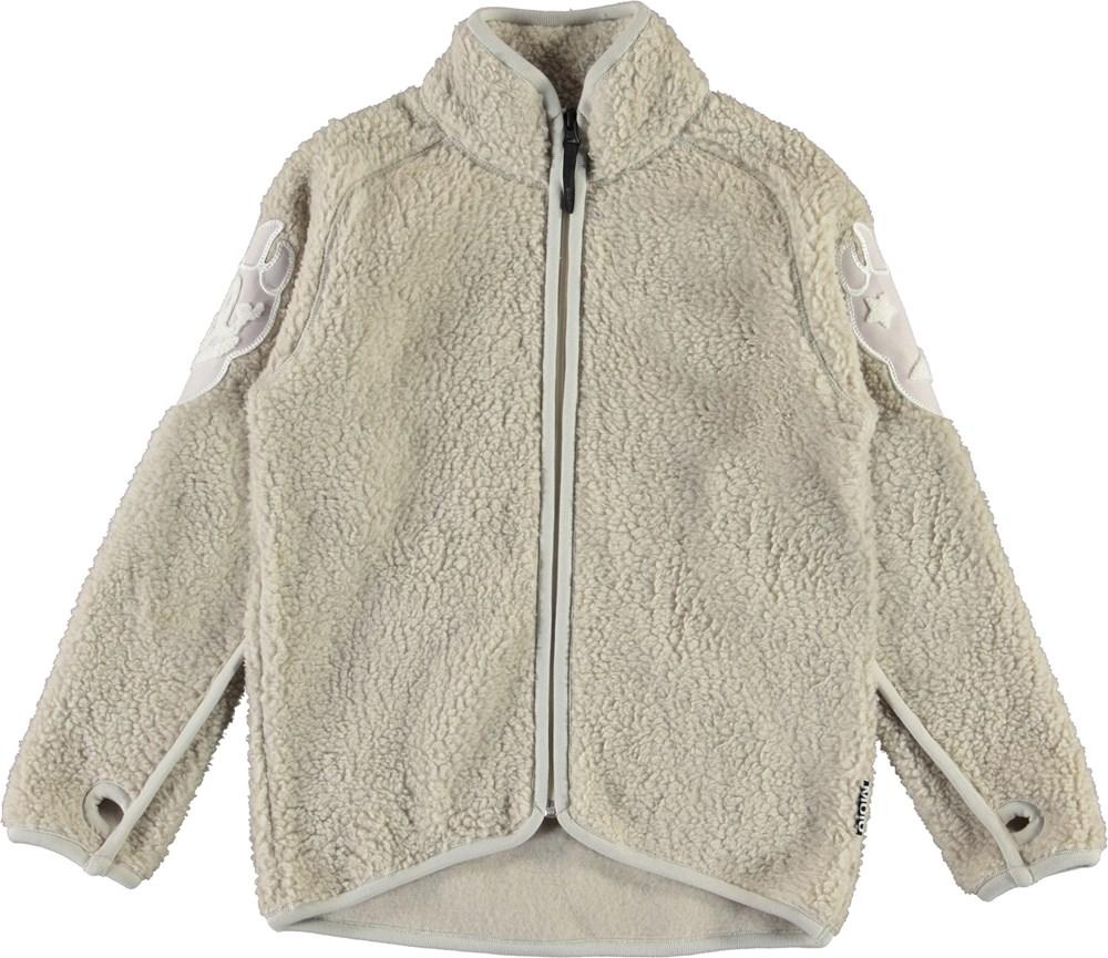 Ulan - Dark White - Teddy fleece jacket with claw