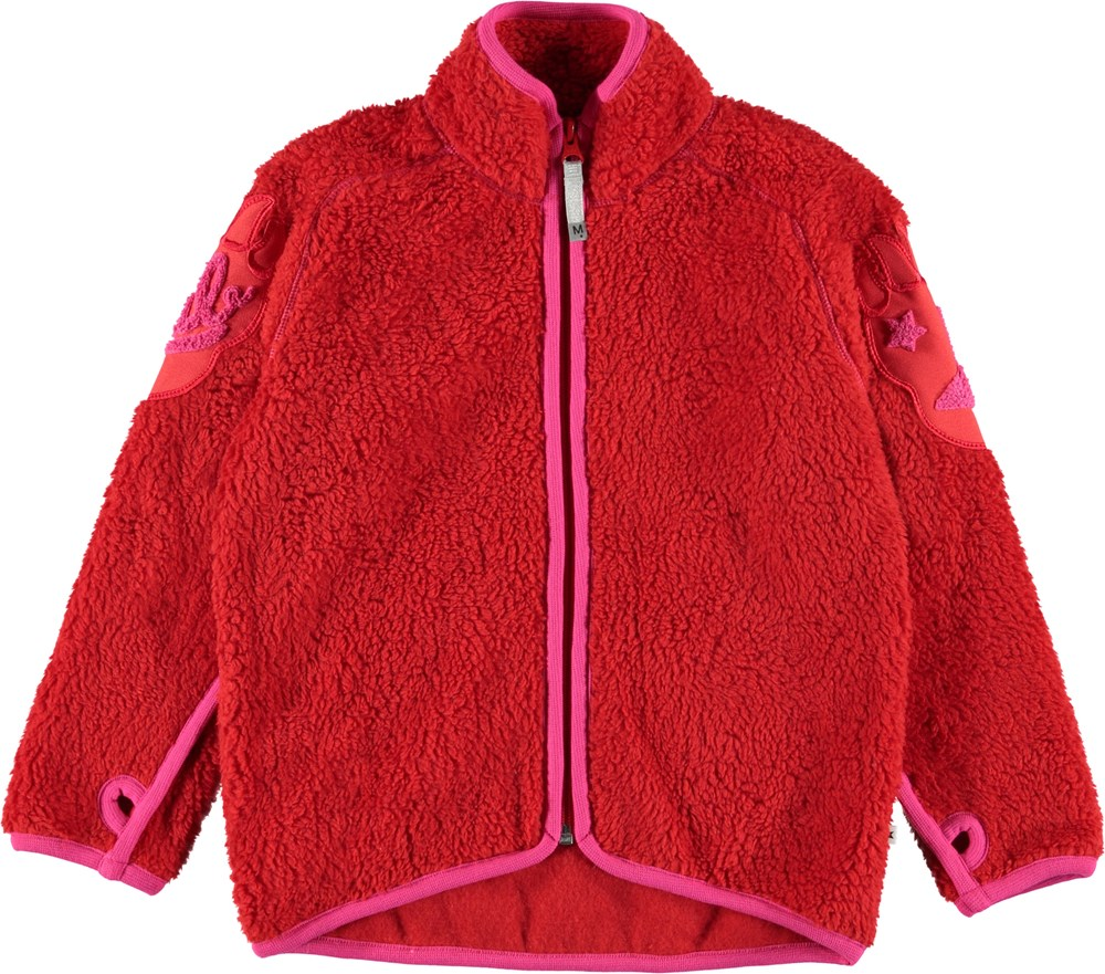 Ulan - Fiery Red - Red fleece jacket with bear claws.
