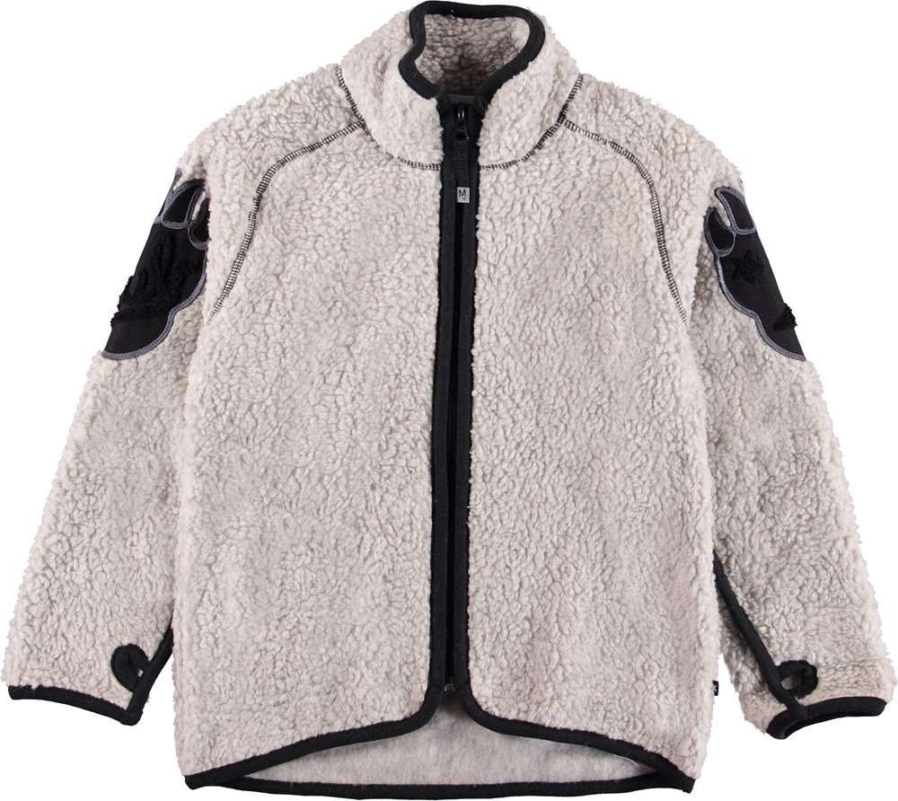 Ulan - Grey Melange - Light grey fleece jacket with bear claw.
