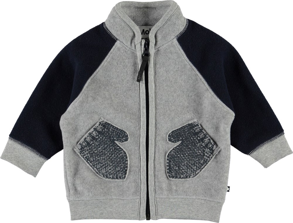 Ulf - Moonlit Ocean - Grey and black fleece jacket with mittens