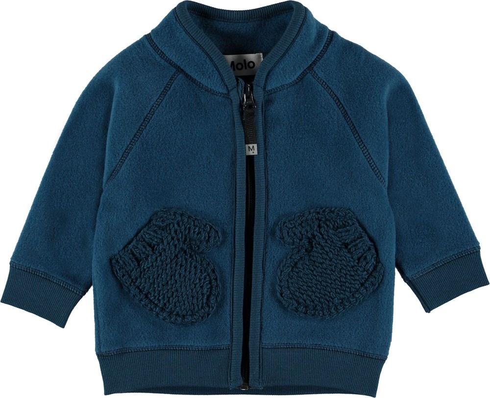Ulf - Ocean Blue - Baby fleece jacket in dark blue.