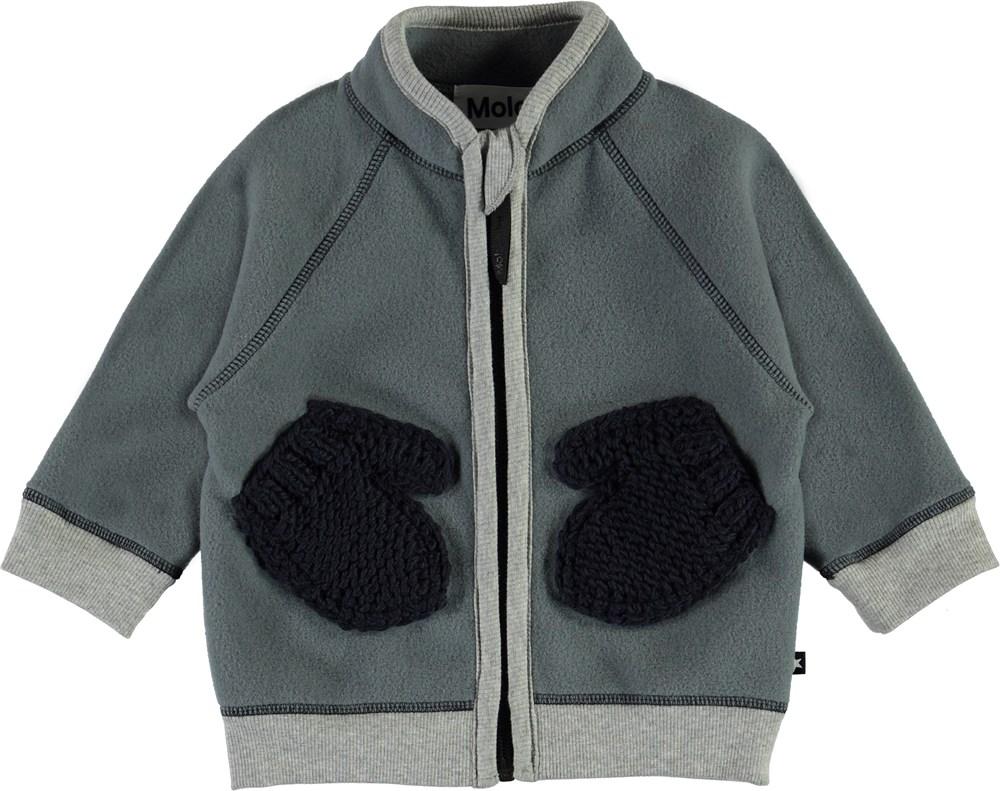 Ulf - Stormy Weather - Grey fleece jacket with mitten pockets