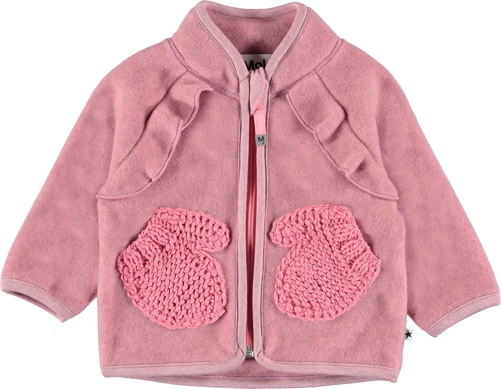Uli - Bubble Pink - Baby fleece jacket in pink .