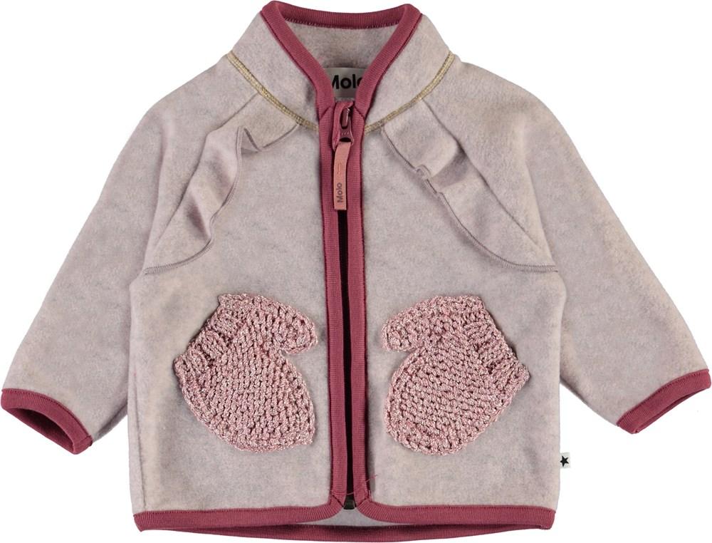 Uli - Fair Pink - Rose fleece jacket with mitten pockets