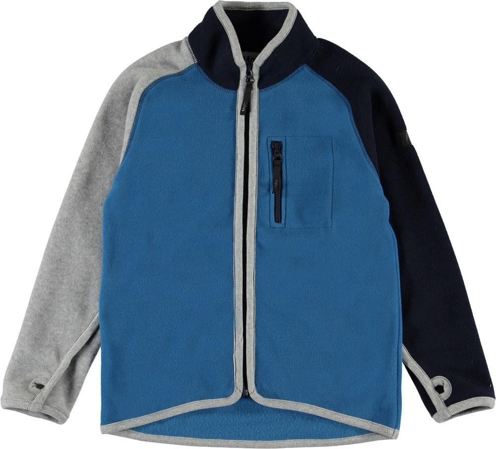 Ulrick - Azure - Blue and grey fleece jacket