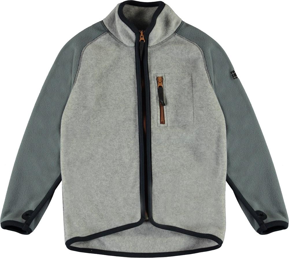 Ulrick - Grey Melange - Grey fleece jacket with green sleeves
