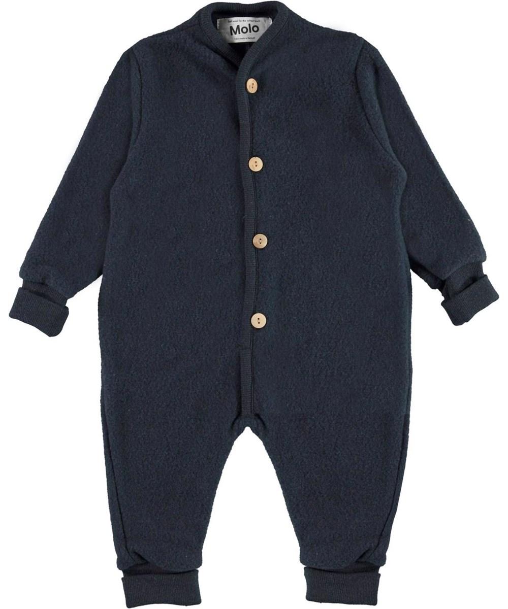 Umar - Dark Navy - Blue wool baby romper