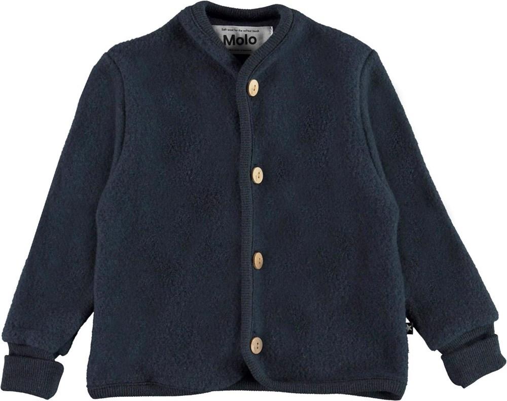 Umber - Dark Navy - Blue baby jacket in wool