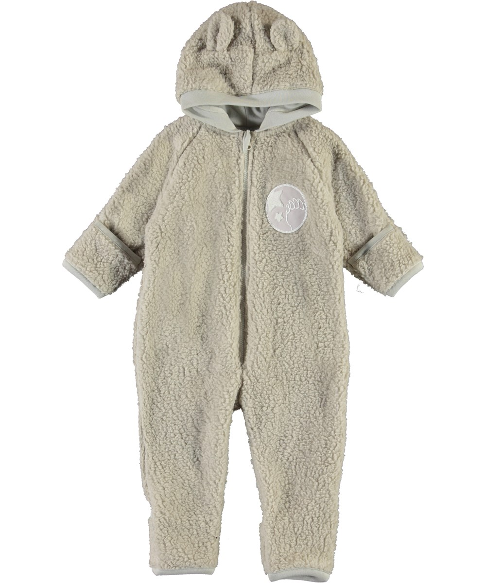 Umeko - Dark White - Baby fleece romper with ears