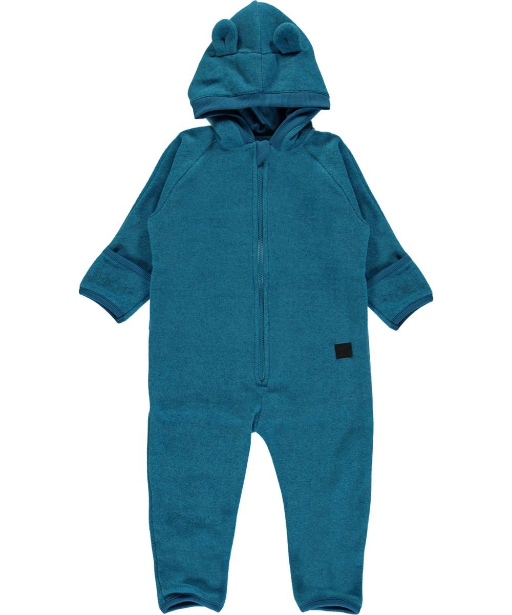 Umeko - Frozen Blue - Blue baby fleece romper with hood.