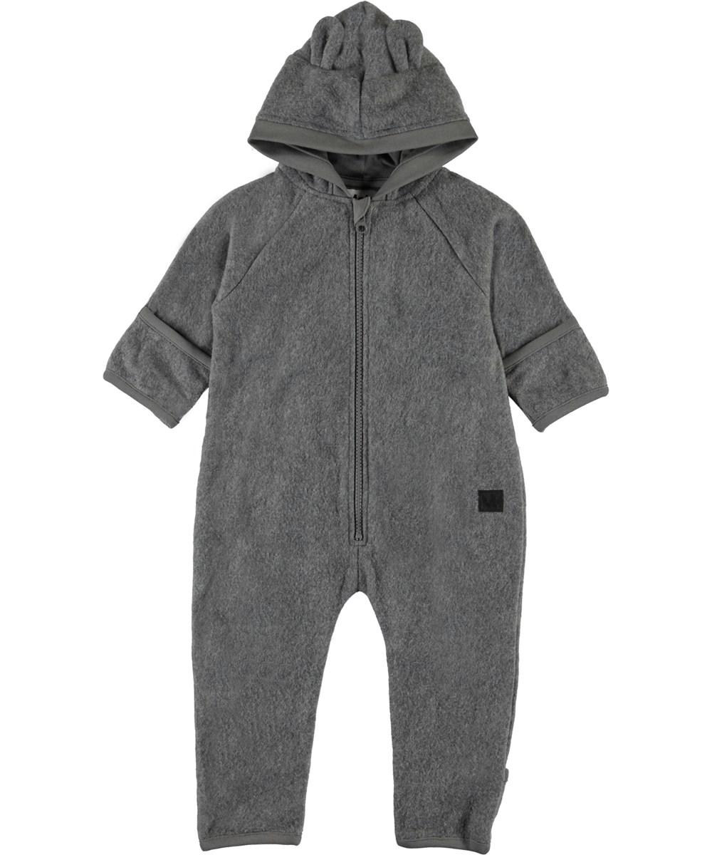 Umeko - Grey Melange - Grey baby fleece romper with ears