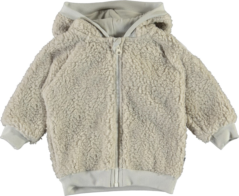 Ummi - Dark White - White baby fleece jacket with ears