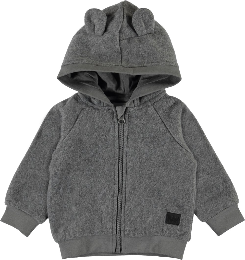 Ummi - Grey Melange - Grey baby hoodie with ears