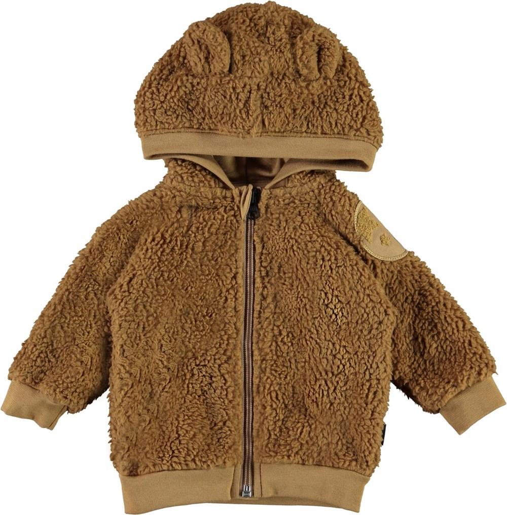 Ummi - Sandstone - Brown baby fleece jacket with ears