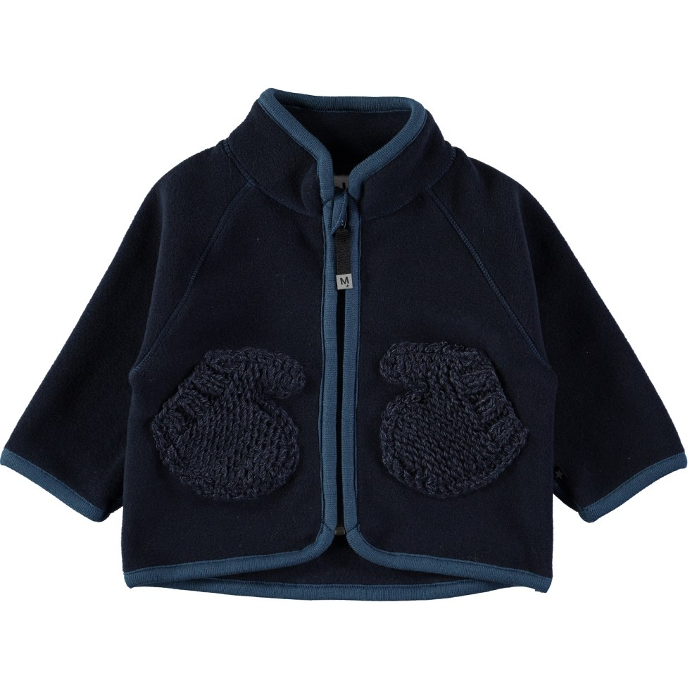 Umo - Blue Wing Teal - Dark blue baby fleece jacket