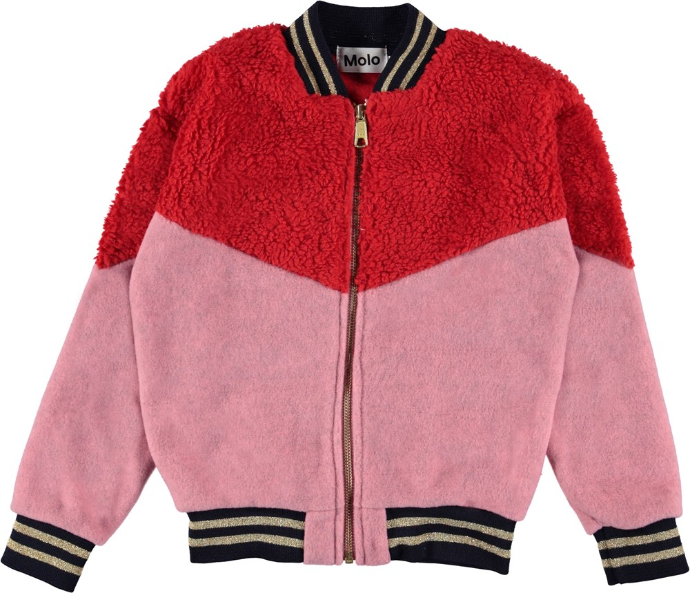 Una - Fiery Red - Red and pink bomber fleece jacket.