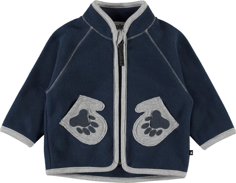 Uni - Summer Night - Baby fleece jacket in blue with mitten pockets