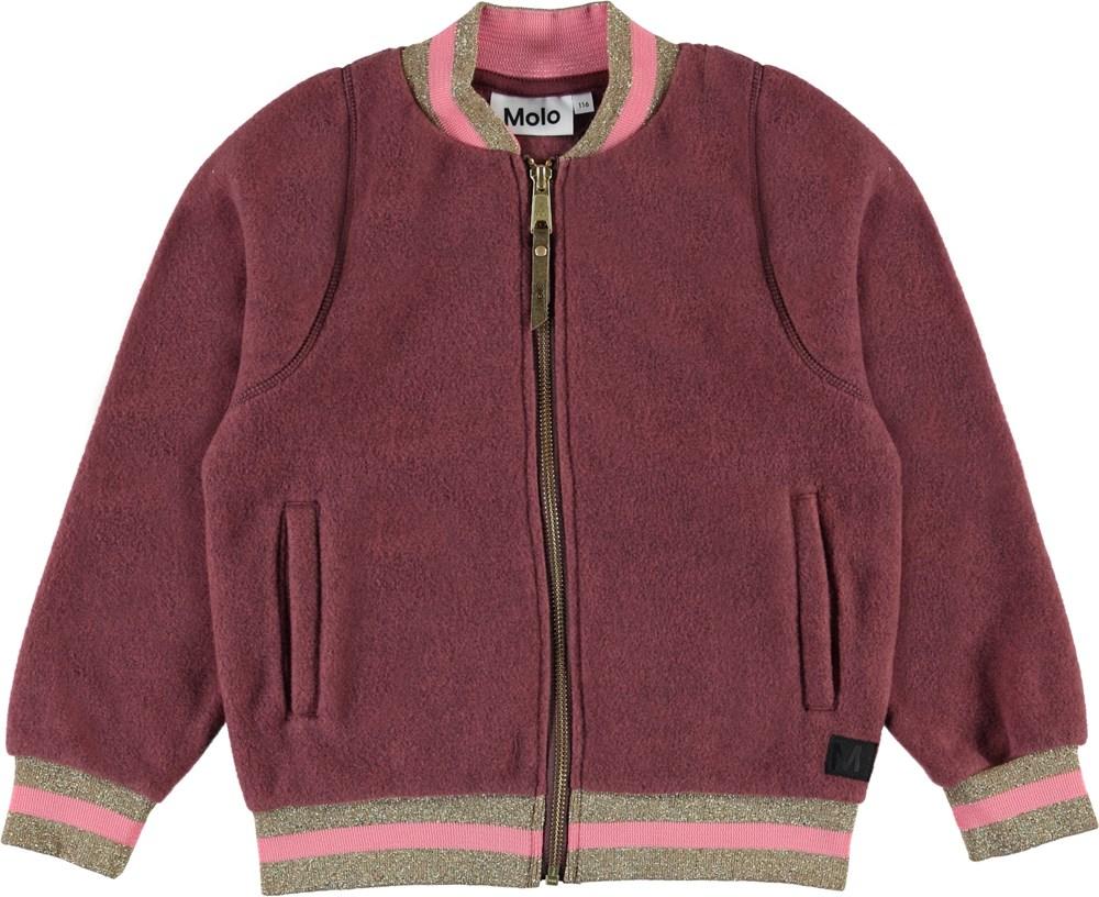 Unique - Carbernet - Dark rose bomber fleece jacket.