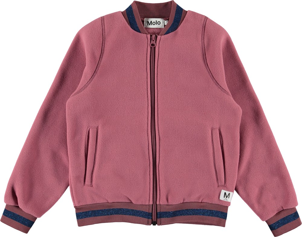 Unique - Withered Rose - Rose fleece jacket with glitter stripes