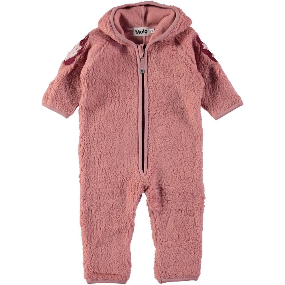 Unity - Ash Rose - Baby romper in rose coloured fleece