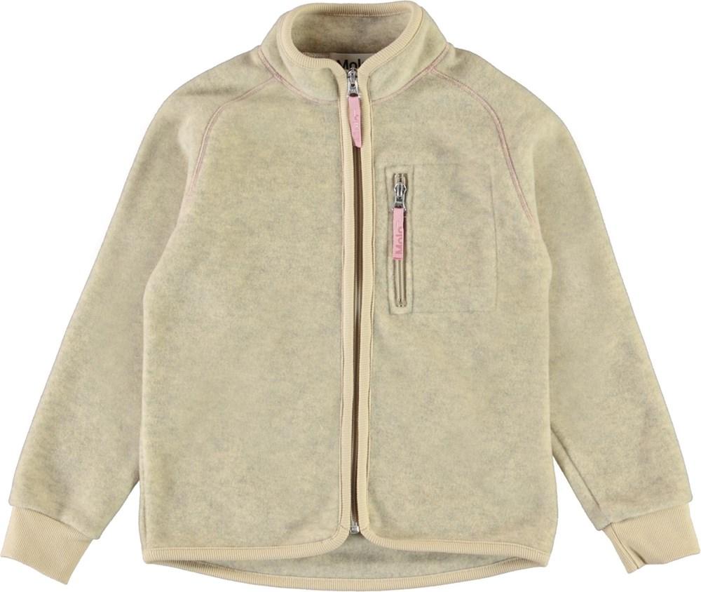 Unna - Banana Crepe - Light yellow fleece jacket with pink stitching