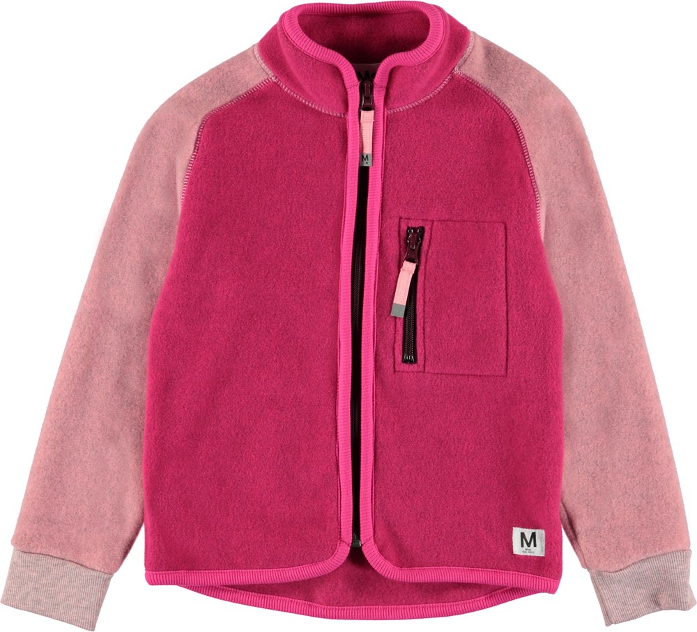 Unna - Pink Disco Block - Pink fleece jacket with pink sleeves.