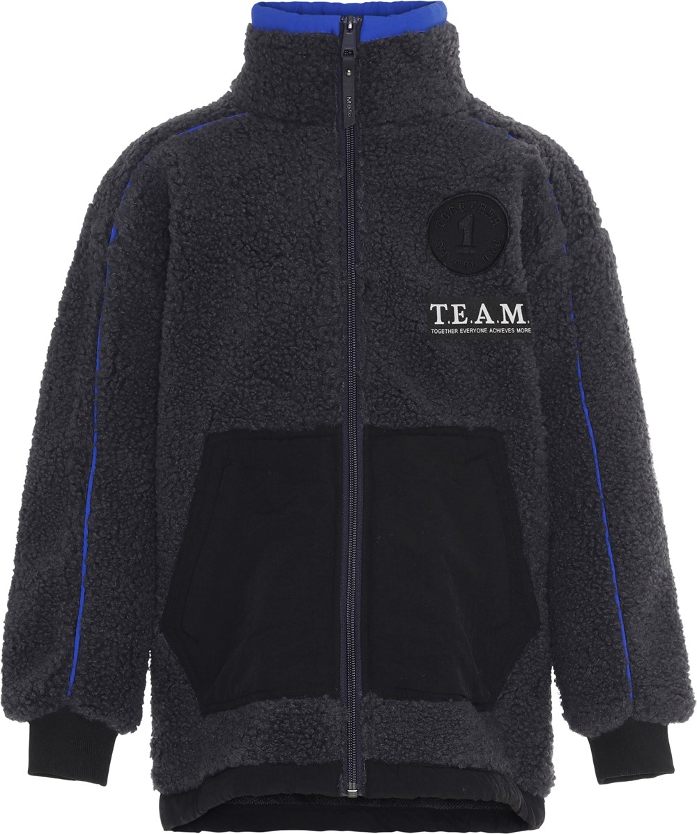 Uno - Moonlit Ocean - Grey team fleece jacket with blue details