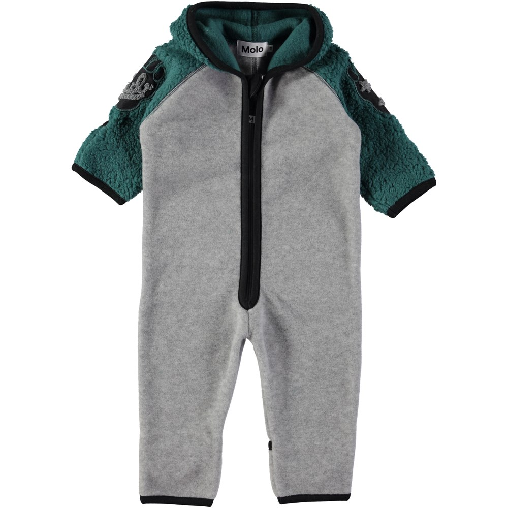 Uny - Jungle Green - Baby romper in grey and green fleece