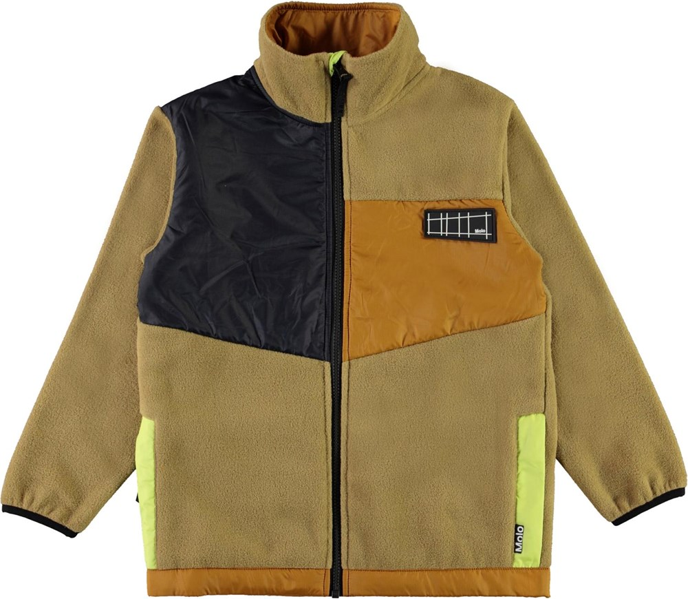 Urbain - Khaki - Beige fleece jacket with neon green